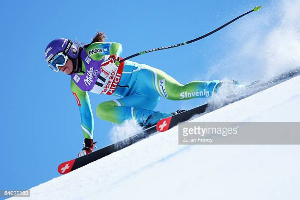 Tina Maze of Slovenia skis during the Women's Downhill Training session held on the Face de Solaise course on February 4 2009 in Val d'Isere France