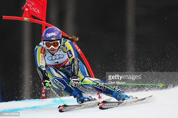 Tina Maze of Slovenia skis on her way to winning the Women's Giant Slalom during the Alpine FIS Ski World Championships on the Kandahar course on...