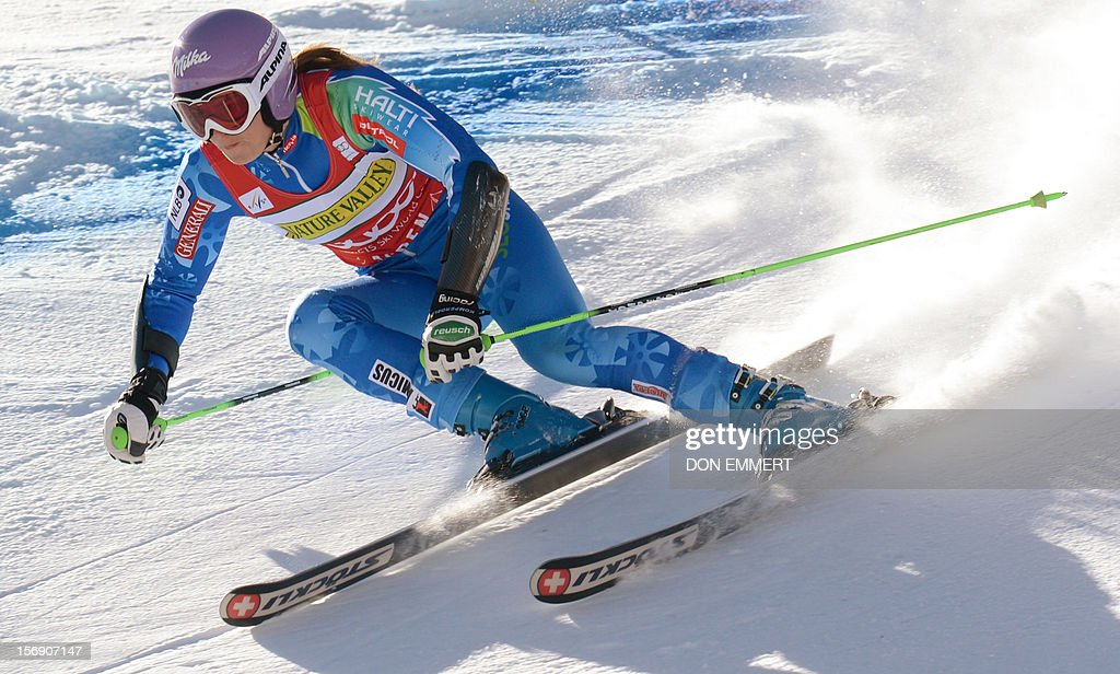 Tina Maze of Slovenia skis the course during the FIS Alpine World Cup Women's Giant Slalom November 24, 2012 in Aspen, Colorado. Maze went on to win the event.