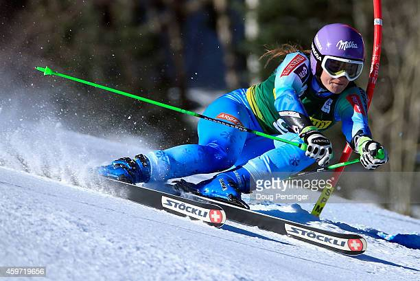 Tina Maze of Slovenia skis to fourth place in the ladies giant slalom during the 2014 Audi FIS Ski World Cup at the Nature Valley Aspen...