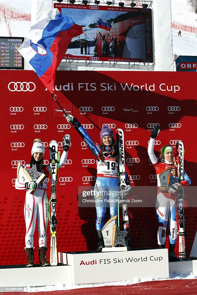 Tina Maze of Slovenia takes 1st place, Anna Fenninger of Austria takes 2nd place, Fabienne Suter of Switzerland takes 3rd place during the Audi FIS Alpine Ski World Cup Women's SuperG on January 13, 2013 in St. Anton, Austria.
