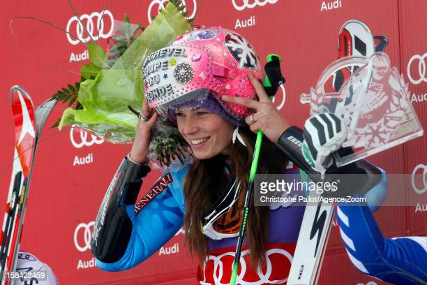 Tina Maze of Slovenia takes 1st place competes during the Audi FIS Alpine Ski World Cup Women's Giant Slalom on December 16 2012 in Courchevel France