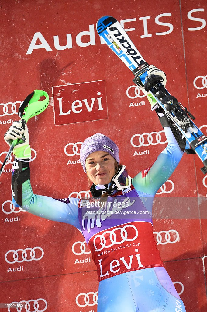 Tina Maze of Slovenia takes 1st place during the Audi FIS Alpine Ski World Cup Women's Slalom on November 15, 2014 in Levi, Finland.