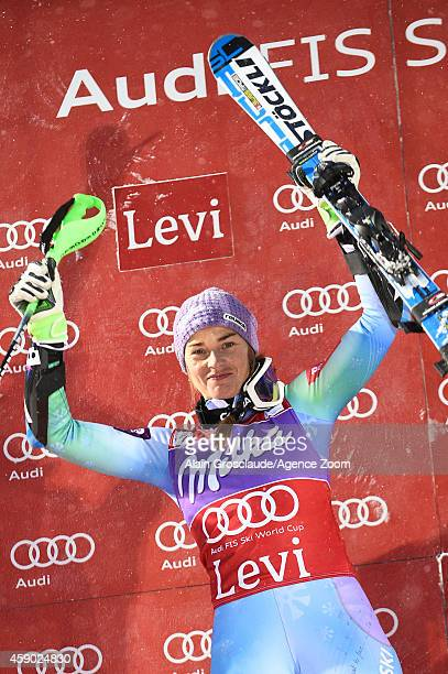 Tina Maze of Slovenia takes 1st place during the Audi FIS Alpine Ski World Cup Women's Slalom on November 15 2014 in Levi Finland