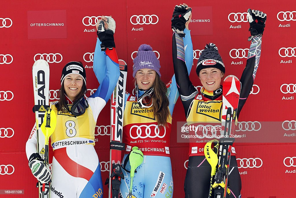 Tina Maze of Slovenia takes 1st place, Wendy Holdener of Switzerland takes 2nd place, Mikaela Shiffrin of the USA takes 3rd place during the Audi FIS Alpine Ski World Cup Women's Slalom on March 10, 2013 in Ofterschwang, Germany.