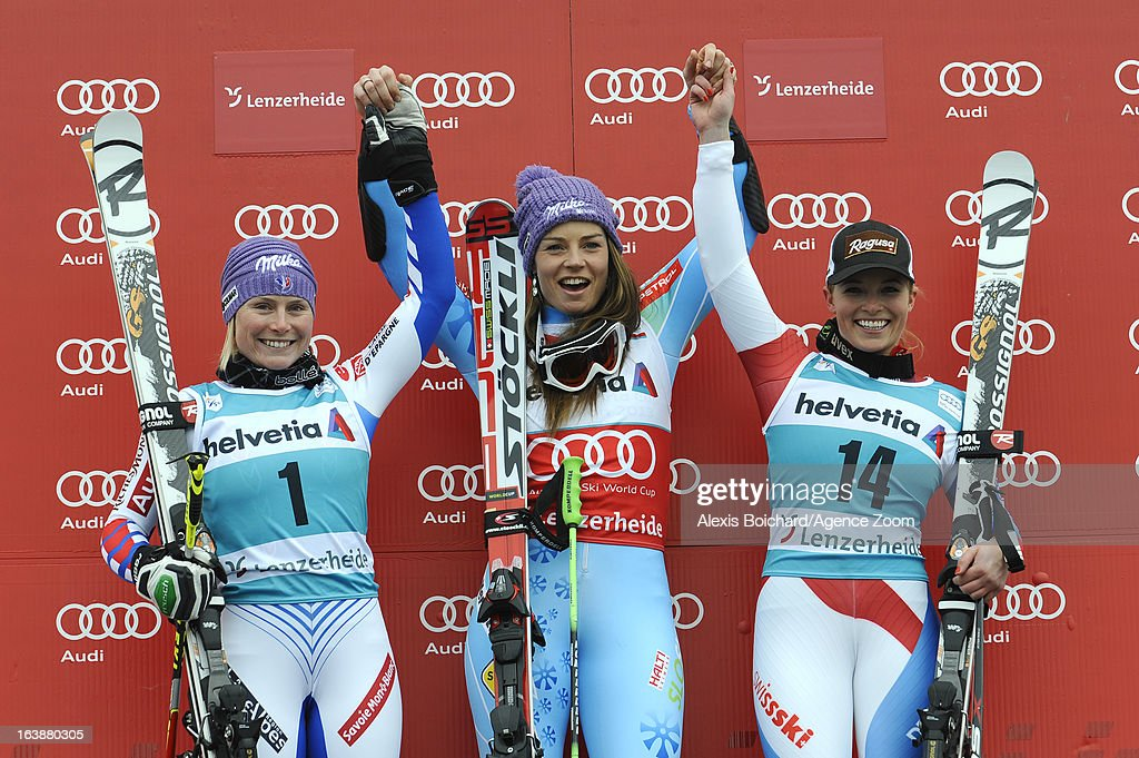 Tina Maze of Slovenia takes 1st place,Tessa Worley of France takes 2nd place,Lara Gut of Switzerland takes 3rd place during the Audi FIS Alpine Ski World Cup WomenÕs Giant Slalom on March 17, 2013 in Lenzerheide, Switzerland.