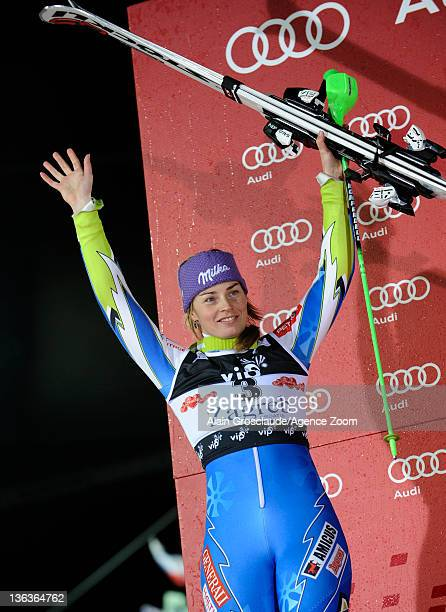 Tina Maze of Slovenia takes 2nd place during the Audi FIS Alpine Ski World Cup Women's Slalom on January 3 2012 in Zagreb Croatia