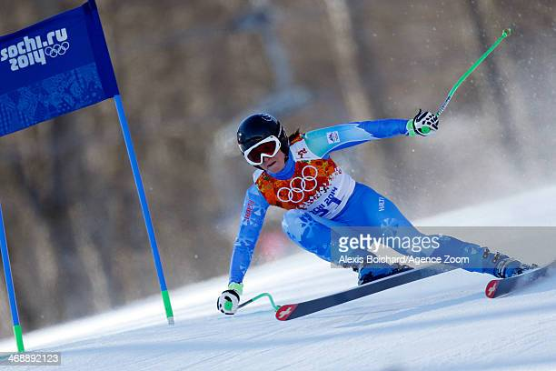 Tina Maze of Slovenia wins joint gold during the Alpine Skiing Women's Downhill at the Sochi 2014 Winter Olympic Games at Rosa Khutor Alpine Centre...