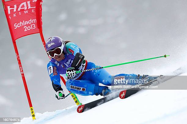 Tina Maze of Slovenia wins the gold medal during the Audi FIS Alpine Ski World Championships Women's SuperG on February 05 2013 in Schladming Austria
