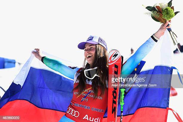 Tina Maze of Slovenia wins the gold medal during the FIS Alpine World Ski Championships Women's Downhill on February 6 2015 in Beaver Creek Colorado