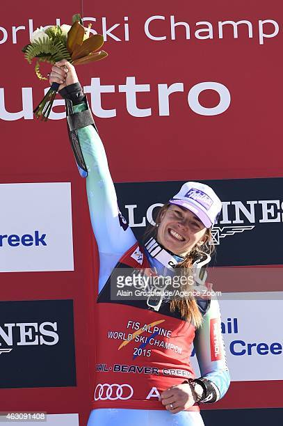 Tina Maze of Slovenia wins the gold medal during the FIS Alpine World Ski Championships Women's Super Combined on February 09 2015 in Vail/Beaver...