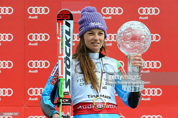 Tina Maze of Slovenia wins the Overall World Cup during the Audi FIS Alpine Ski World Cup Finals March 17 2013 in Lenzerheide Switzerland