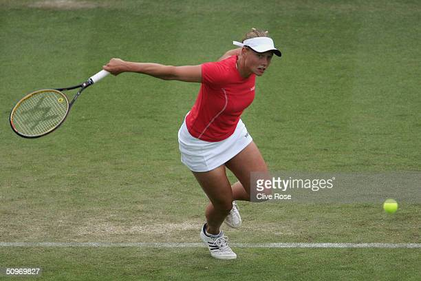 Tina Pisnik of Slovinia in action during her match against Svetlana Kuznetsova of Russia in the Hastings Direct International Tennis Championships at...