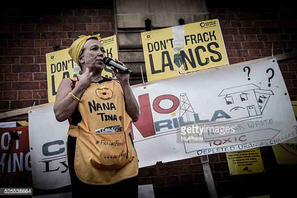 Tina Rothery an antifacking activist based in the Fylde area of Lancashire speaking on Tuesday 23rd June 2015 outside Lancashire County Hall in...