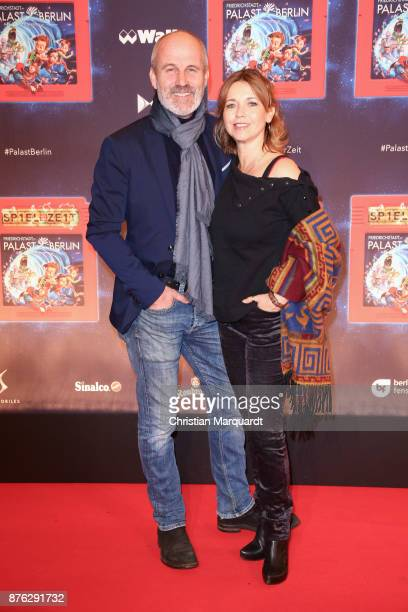 Tina Ruland and her partner Claus Oldoerp attend the premiere of children's show 'Spiel mit der Zeit' at Friedrichstadtpalast on November 19 2017 in...