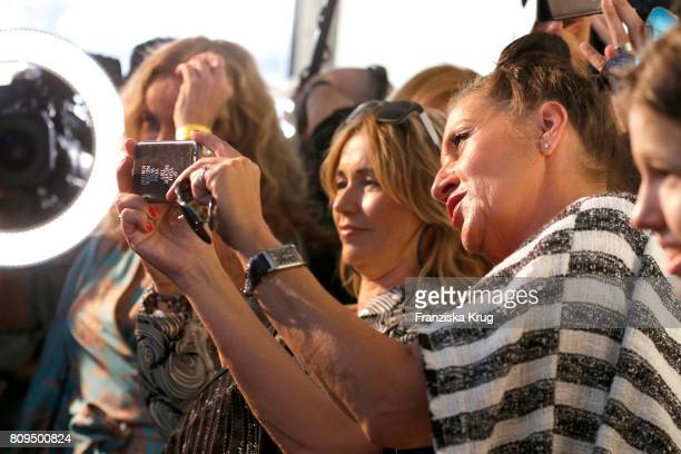 Tina Ruland and Katy Karrenbauer attend the Guido Maria Kretschmer Fashion Show Autumn/Winter 2017 presented by OTTO at Tempodrom on July 5 2017 in...