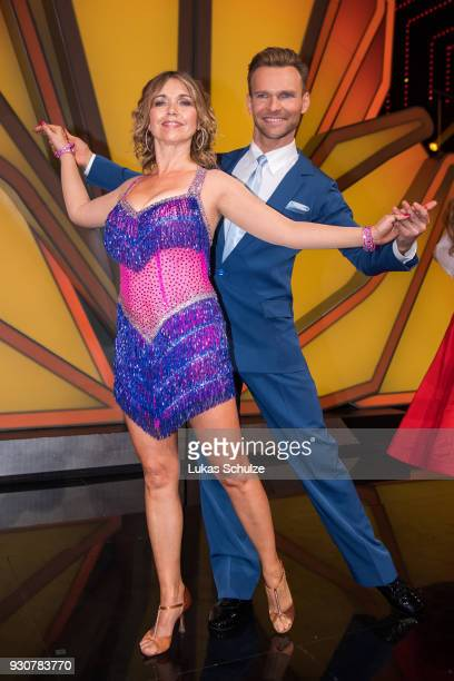 Tina Ruland and Vadim Garbuzov pose during the preshow 'Wer tanzt mit wem Die grosse Kennenlernshow' of the television competition 'Let's Dance' on...