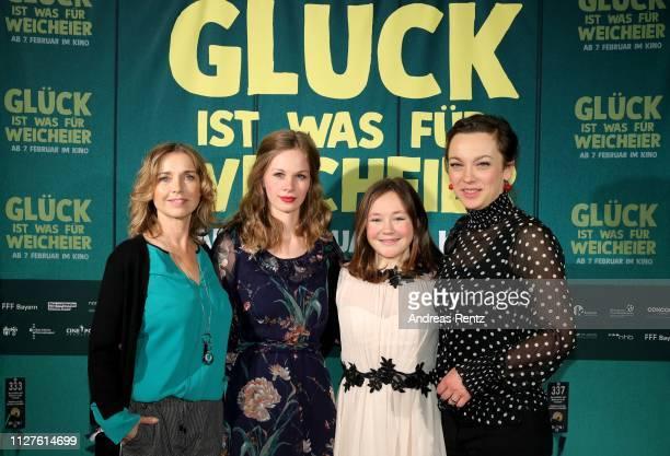 Tina Ruland Emilia Bernsdorf Ella Frey and Anca Lazarescu attend the premiere of the film Glueck ist was fuer Weicheier at Rex am Ring on February 05...
