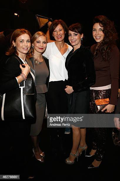 Tina Ruland Regina Halmich designer Eva Lutz Anna Maria Kaufmann and Alexandra Polzin attend the Minx by Eva Lutz show during MercedesBenz Fashion...