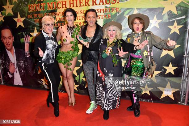 Tina Schmann Micaela Schaefer Julian F M Stoeckel Eva Jacob and Franziska Menke during the Public Viewing Of the TV Show 'Ich bin ein Star Holt mich...