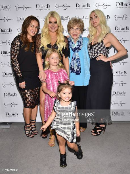 Tina Simpson, Jessica Simpson, Maxwell Drew Johnson, Jagger Snow Ross, Dorothy Drew and Ashlee Simpson attend a spring style event benefitting The...