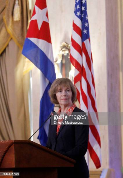 Tina Smith Vice Governor of Minnesota looks on during a press conference as part of her official visit on June 22 2017 in Havanna Cuba This is the...