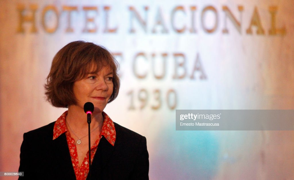 Tina Smith, Vice Governor of Minnesota looks on during a press conference as part of her official visit on June 22, 2017 in Havanna, Cuba. This is the first official visit of an US State official to Cuba since President Donald Trump announced Washington's new policy toward the island.