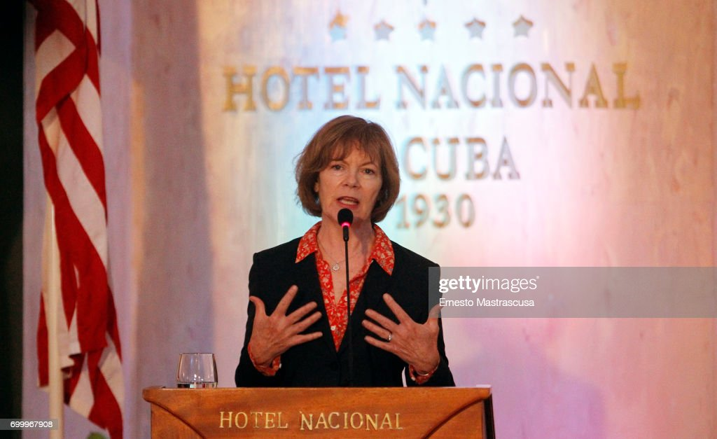 Tina Smith, Vice Governor of Minnesota talks during a press conference as part of her official visit on June 22, 2017 in Havanna, Cuba. This is the first official visit of an US State official to Cuba since President Donald Trump announced Washington's new policy toward the island.