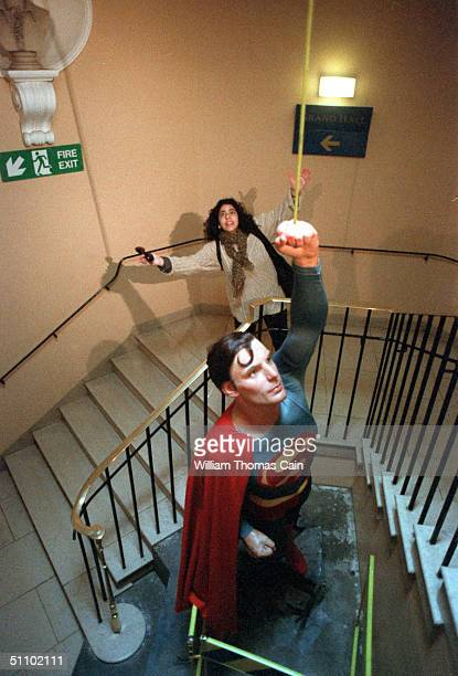 Tina Sottolano Of Hartsville Pennsylvania Usa Emulates The Wax Figure Of Actor Christopher Reeve As Superman At Madame Toussaud's Wax Museum In...