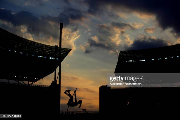 Tina Sutej of Slovenia competes in the Women's Pole Vault qualification during day one of the 24th European Athletics Championships at Olympiastadion...