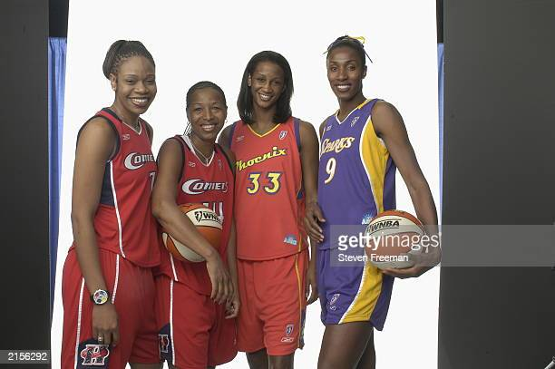 Tina Thompson Cynthia Cooper of the Houston Comets Adrian Williams of the Phoenix Mercury and Lisa Leslie of Los Angeles Sparks pose for a portrait...