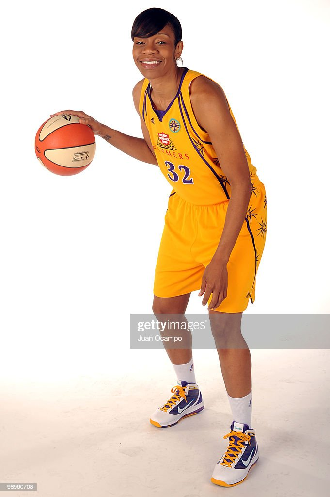 Tina Thompson #32 of the Los Angeles Sparks poses for a photo during WNBA Media Day at St. Mary's Academy on May 10, 2010 in Inglewood, California.