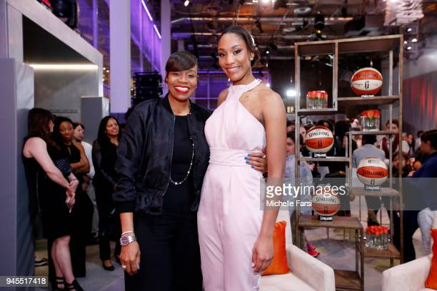 Tina Thompson talks with A'ja Wilson of the Las Vegas Aces during the WNBA Draft 2018 on April 12 2018 at Nike New York Headquarters in New York New...