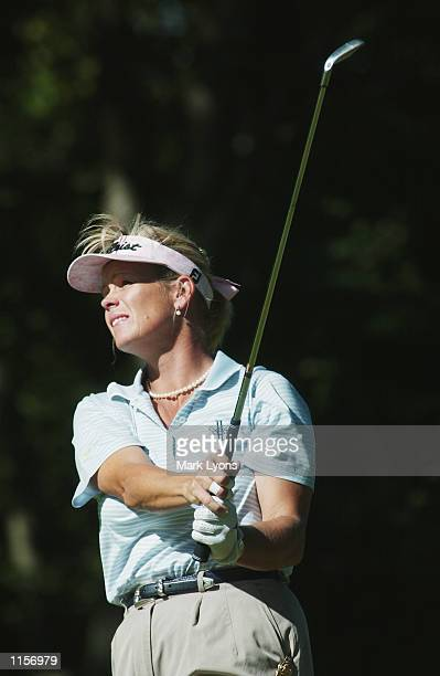 Tina Tombs hits a shot during the third round of the Jamie Farr Kroger Classic on July 13, 2002 at Highland Meadows GC in Sylvania, Ohio.