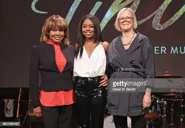Tina Turner actress Adrienne Warren and director Phyllida Lloyd pose at a photocall for 'Tina The Tina Turner Musical' at The Hospital Club on...