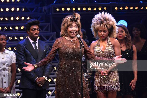 Tina Turner and Adrienne Warren during the opening night of Tina The Tina Turner Musical at LuntFontanne Theatre on November 07 2019 in New York City