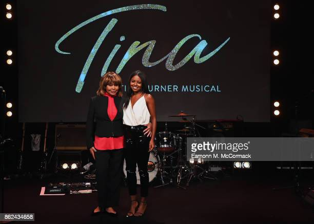 Tina Turner and Adrienne Warren during the 'TINA The Tina Turner Musical' photocall at Aldwych Theatre on October 17 2017 in London England