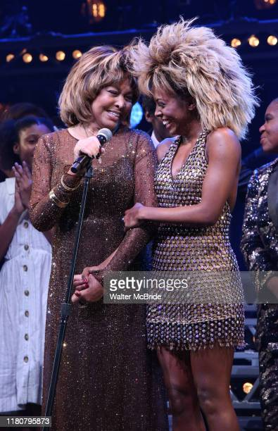 Tina Turner and Adrienne Warren during the Tina The Tina Turner Musical Opening Night Curtain Call at the LuntFontanne Theatre on November 07 2019 in...