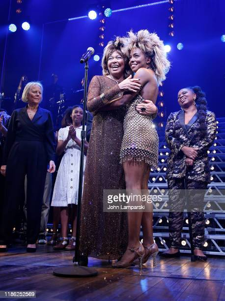 Tina Turner and Adrienne Warren speak during Tina The Tina Turner Musical opening night at LuntFontanne Theatre on November 07 2019 in New York City