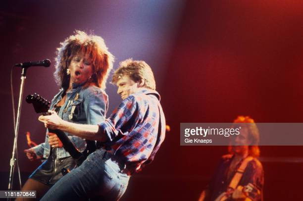 Tina Turner and Bryan Adams, Vorst Nationaal, Brussels, Belgium, 16th April 1985.