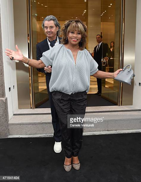 Tina Turner and Erwin Bach attend the Giorgio Armani 40th Anniversary Boutique Cocktail Reception on April 29, 2015 in Milan, Italy.