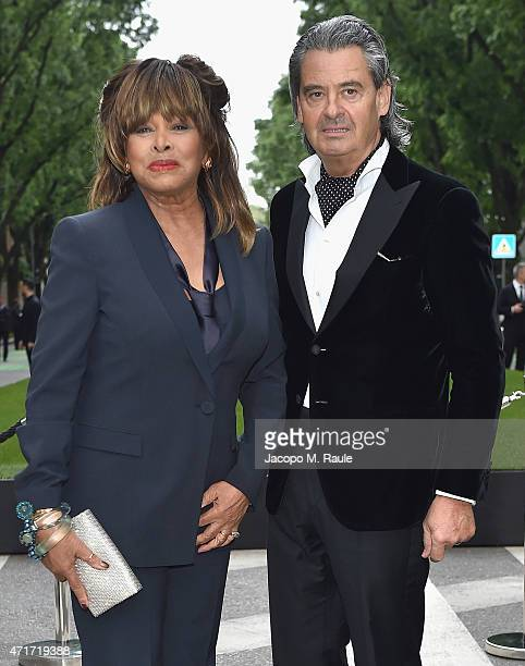 Tina Turner and Erwin Bach attend the Giorgio Armani 40th Anniversary Silos Opening And Cocktail Reception on April 30, 2015 in Milan, Italy.