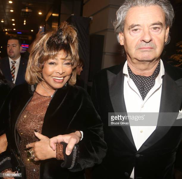 "Tina Turner and Erwin Bach attend the opening night of ""Tina - The Tina Turner Musical"" at Lunt-Fontanne Theatre on November 07, 2019 in New York..."