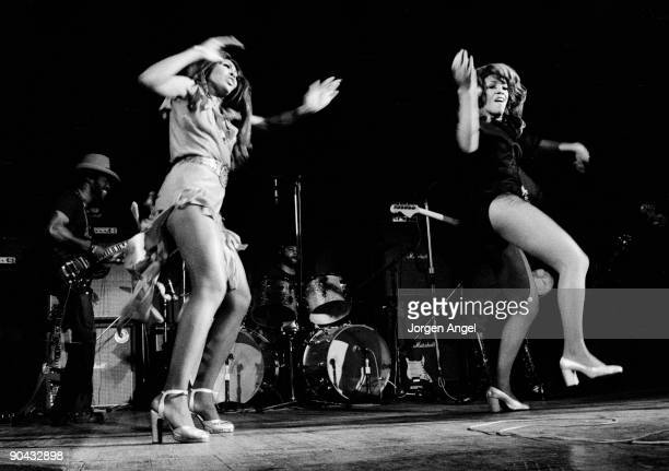 Tina Turner and one of The Ikettes perform on stage with Ike Tina Turner in 1972 in Copenhagen Denmark