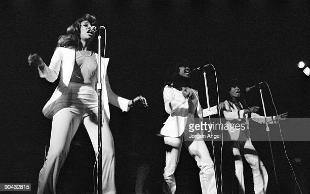 Tina Turner and The Ikettes perform on stage with Ike Tina Turner in 1972 in Copenhagen Denmark