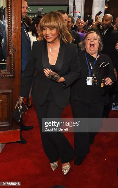 Tina Turner arrives at the press night performance of 'Tina The Tina Turner Musical' at the Aldwych Theatre on April 17 2018 in London England