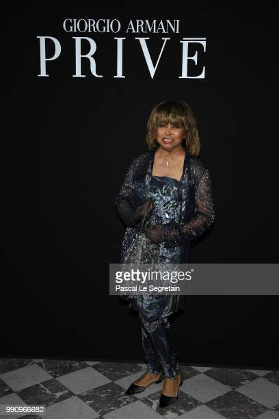 Tina Turner attends the Giorgio Armani Prive Haute Couture Fall Winter 2018/2019 show as part of Paris Fashion Week on July 3 2018 in Paris France