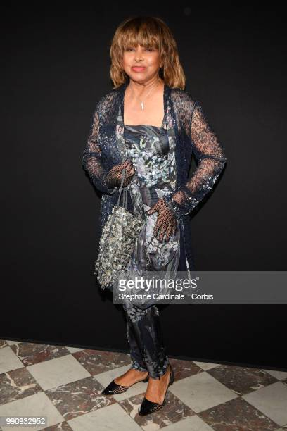 Tina Turner attends the Giorgio Armani Prive Haute Couture Fall/Winter 20182019 show as part of Haute Couture Paris Fashion Week on July 3 2018 in...
