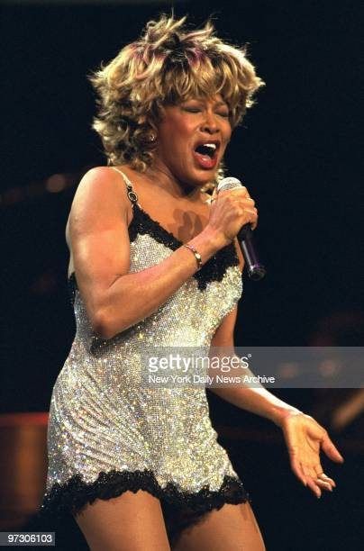 Tina Turner belts out a number in concert at Radio City Music Hall. A star of R&B and pop rock, Turner got her start touring with her husband, Ike...