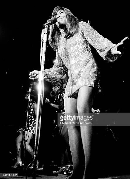 Tina Turner of the husbandandwife RB duo Ike Tina Turner performs onstage with their backup dancers The Ikettes on January 21 1969